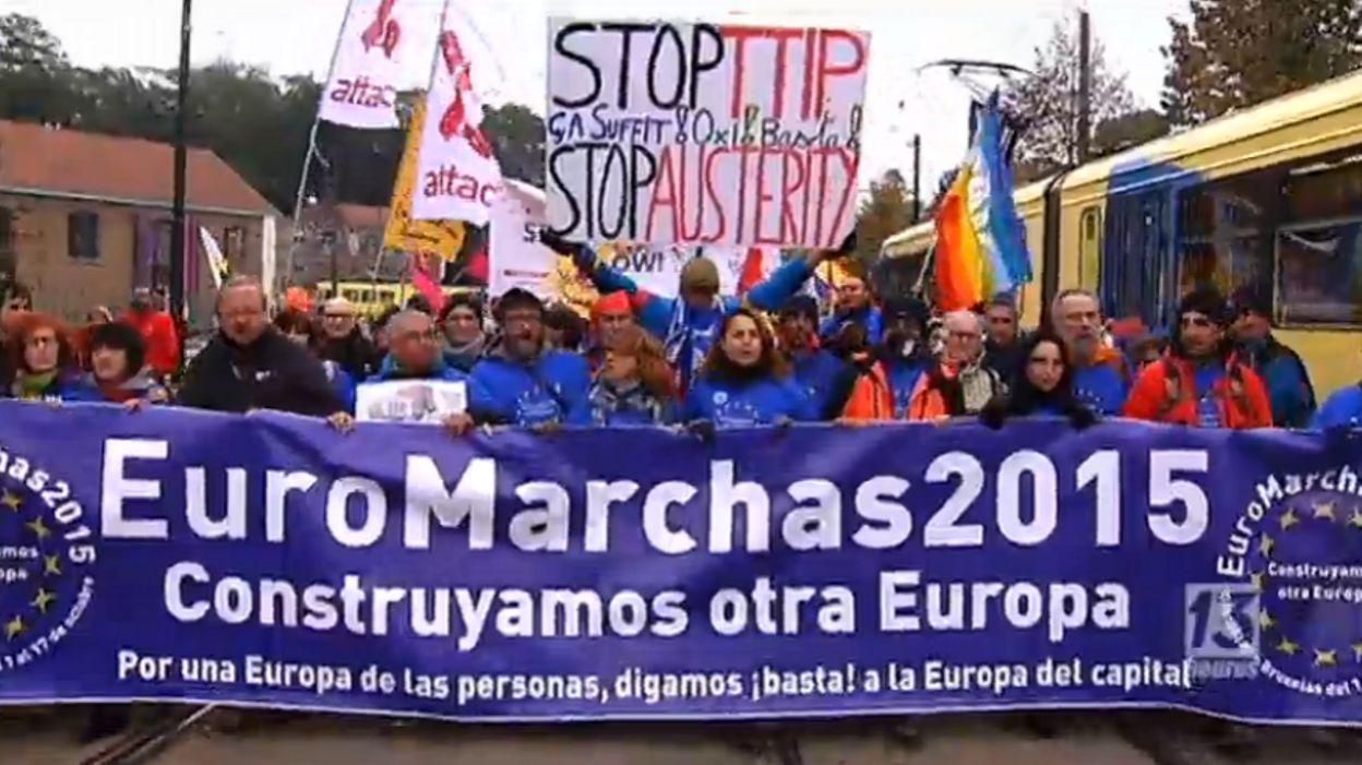 Les Euromarches contre le TTIP encerclent le Sommet européen à Bruxelles