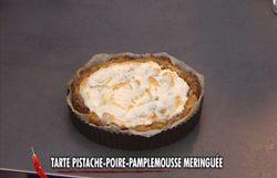 Crumble mousseux choco-poire et tarte pistache-poire-pamplemousse meringuée