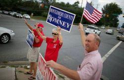 Des partisans de Mitt Romney, le 20 août à Potomac, dans l'Etat du Maryland
