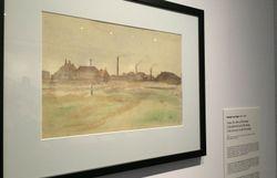 Cette aquarelle a été réalisée par Vincent Van Gogh devant le charbonnage de Flénu disparu aujourd'hui