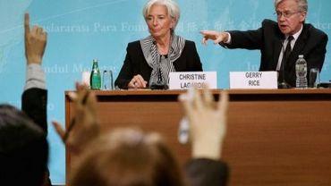 La directrice du FMI, Christine Lagarde, et le porte-parole du Fonds, Gerry Rice, à Washington le 17 janvier 2013