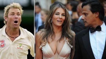 Liz Hurley a divorcé de son mari Arun Nayar. Elle s'affichait depuis plusieurs mois avec le joueur de cricket Shane Warne (à gauche)