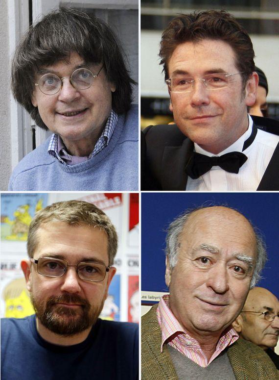 De gauche à droite et de haut en bas : Cabu, Tignous, Charb et Wolinski.