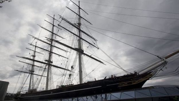 Le Cutty Sark en cours de restauration