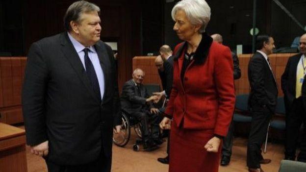 La directrice du FMI Christine Lagarde et le socialiste grec Evangelos Venizelos alors ministre des Finances, le 9 février 2012 à Bruxelles
