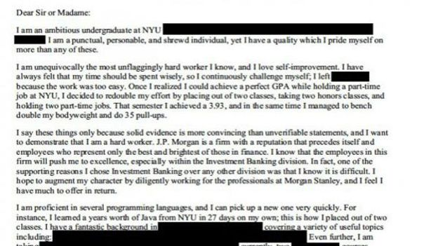 wall street  la lettre de motivation d u0026 39 un candidat stagiaire cr u00e9e le buzz