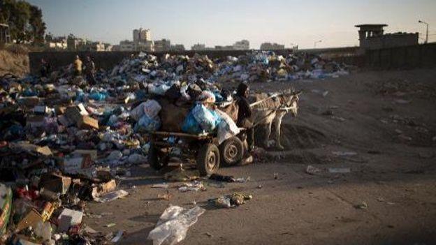Un employé palestinien collecte des ordures avec sa charrette tirée par un âne, le 26 novembre 2013 à Gaza